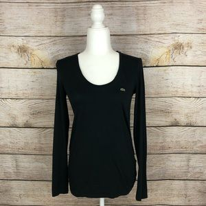 Lacoste Black Scoop Neck Long Sleeve Top